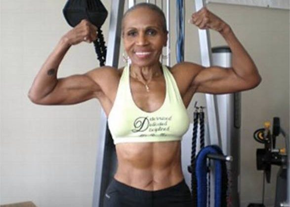 79 yr old Ernestine Shepherd the oldest competitive female bodybuilder in the world.
